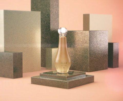 bela embalagem do perfume ella Radiance, o mais novo oerfume da linha ella. Linda embalagem dourada .
